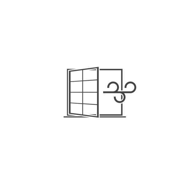 ilustrações de stock, clip art, desenhos animados e ícones de vector icons airing the apartment. wind blowing through the window, a draft on white isolated background. - open window