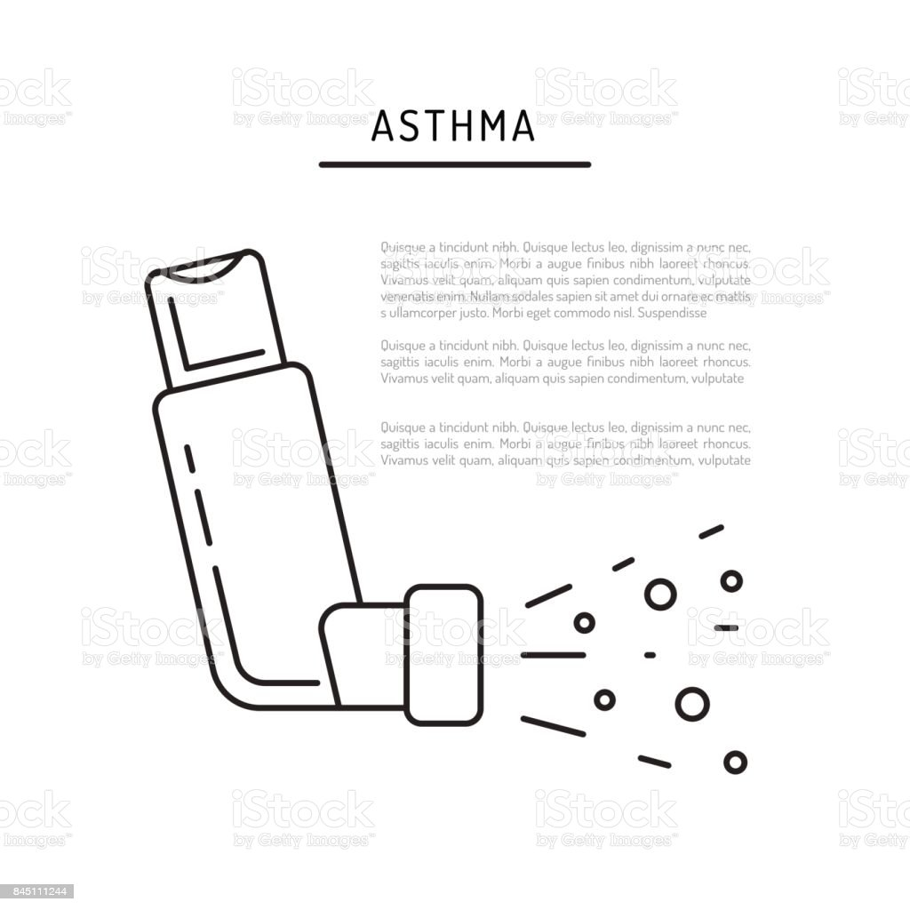 Vector icons asthma vector art illustration