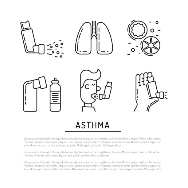 vector icons asthma - breathing stock illustrations