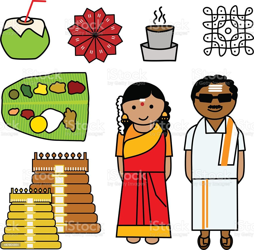 Vector Icons depicting the culture of Tamilnadu, India.