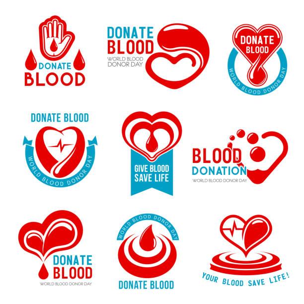 ilustrações de stock, clip art, desenhos animados e ícones de vector icons for blood donation or donor day - blood donation
