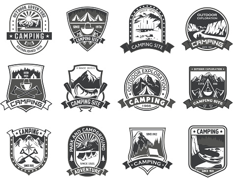 Vector icons for camping mountain adventure