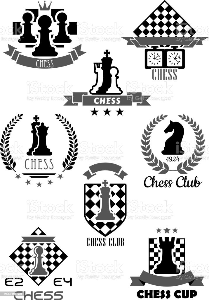Vector icons for chess club and game contest vector art illustration