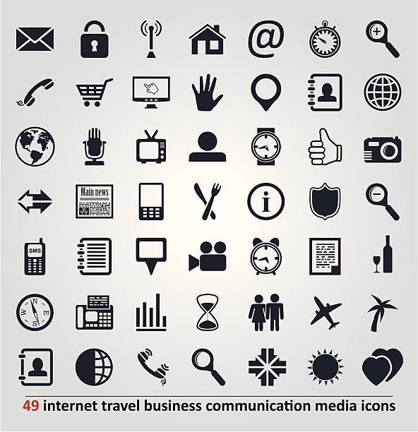 stockillustraties, clipart, cartoons en iconen met vector icons for internet, travel, business, communication - newspaper beach