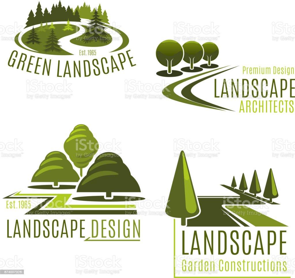 Ilustración de Iconos De Vector Para Paisajismo Empresa Naturaleza y ...