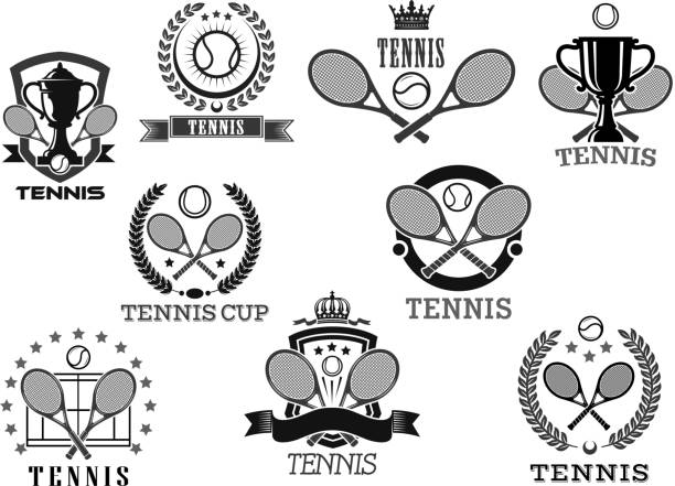 Vector icons for tennis club tournament awards vector art illustration