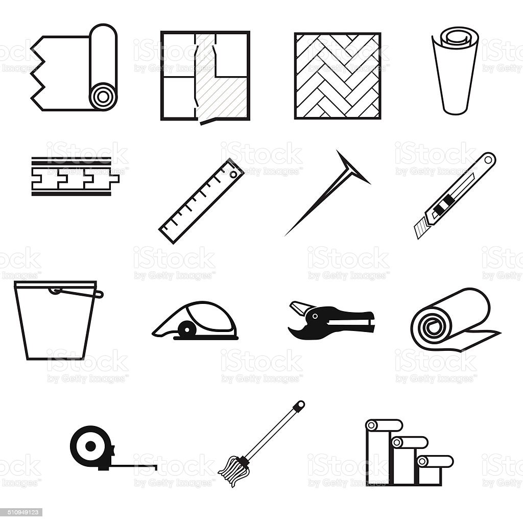 Vector icons for working with linoleum vector art illustration