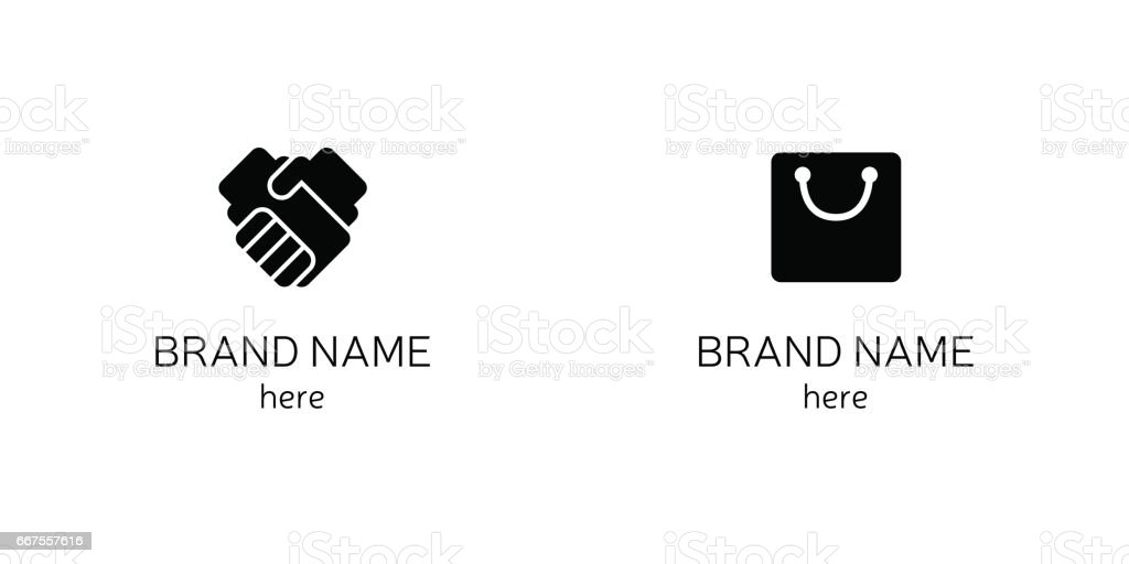 Vector icons Handshake, Briefcase vector art illustration