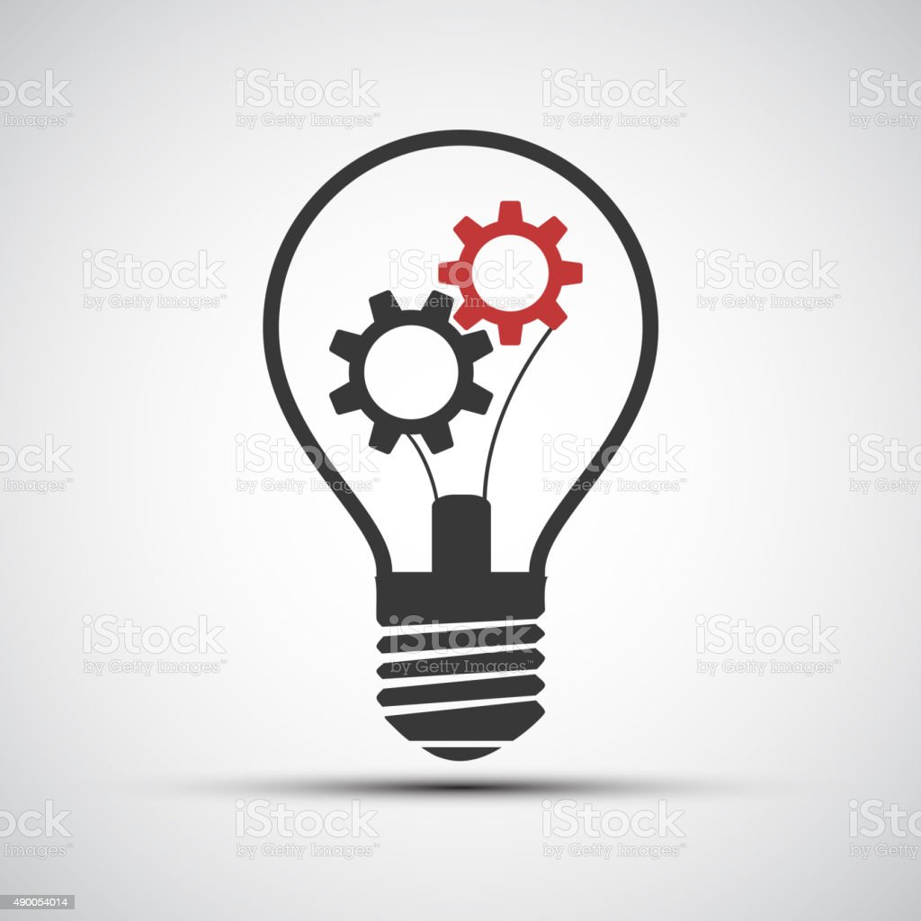 Vector icons light bulb with mechanical gears vector art illustration