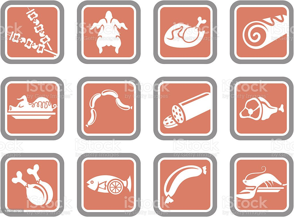 Vector Icons: Meat royalty-free stock vector art