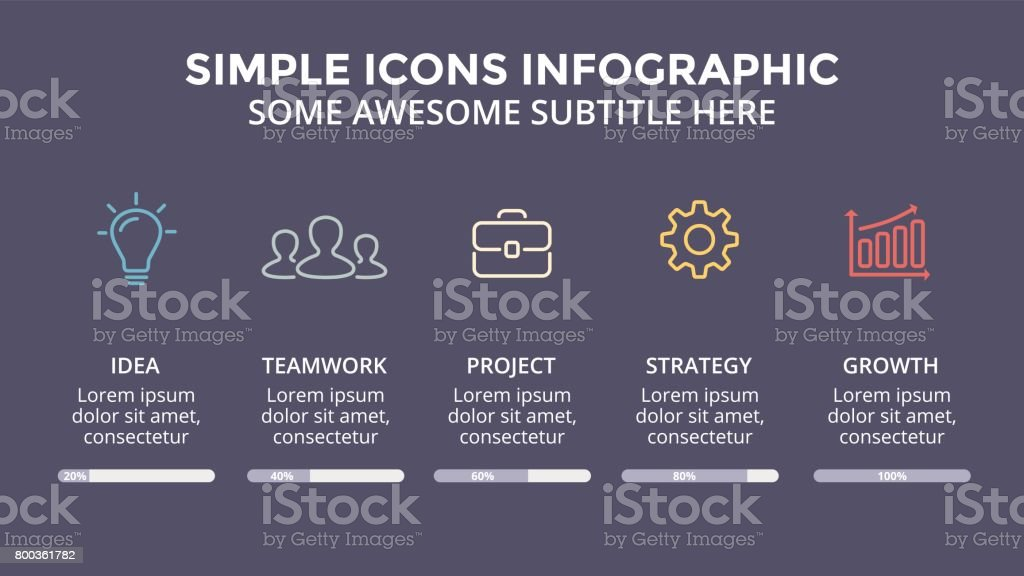 Vector icons minimal infographic, text diagram, flat percents status graph, presentation chart. Business concept with 5 options, parts, steps, processes. 16x9 dark slide template vector art illustration