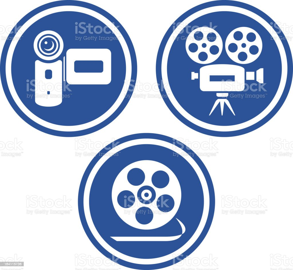 Vector icons - movie and video cameras vector art illustration