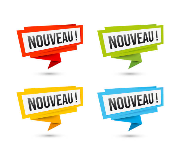 ilustrações de stock, clip art, desenhos animados e ícones de vector icons new, in french - origami paper labels - new