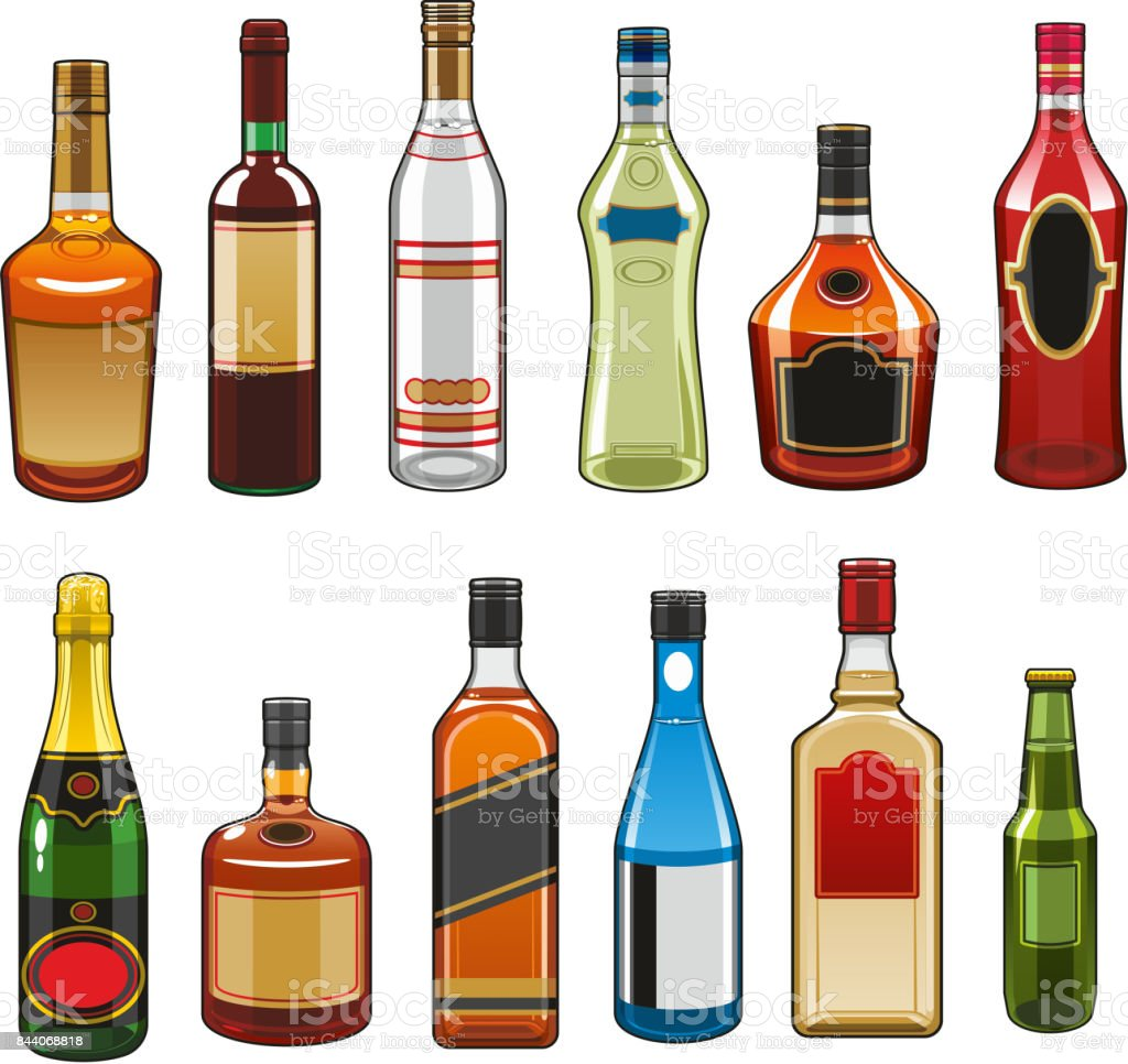 Vector icons of alcohol drinks bottles vector art illustration