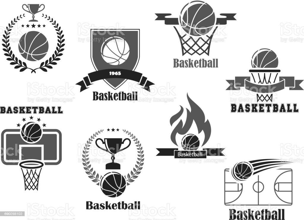 Iconos de vector de premio de club baloncesto Campeonato - ilustración de arte vectorial