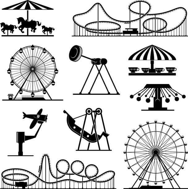 vector icons of different attractions in amusement park - roller coaster stock illustrations