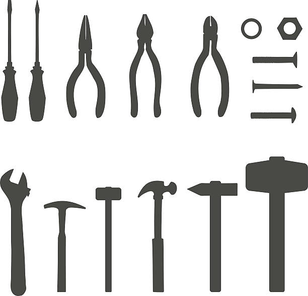 vector icons of different tools on white background - nagelspitze stock-grafiken, -clipart, -cartoons und -symbole