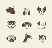 Vector icons of dogs in brown and beige colors