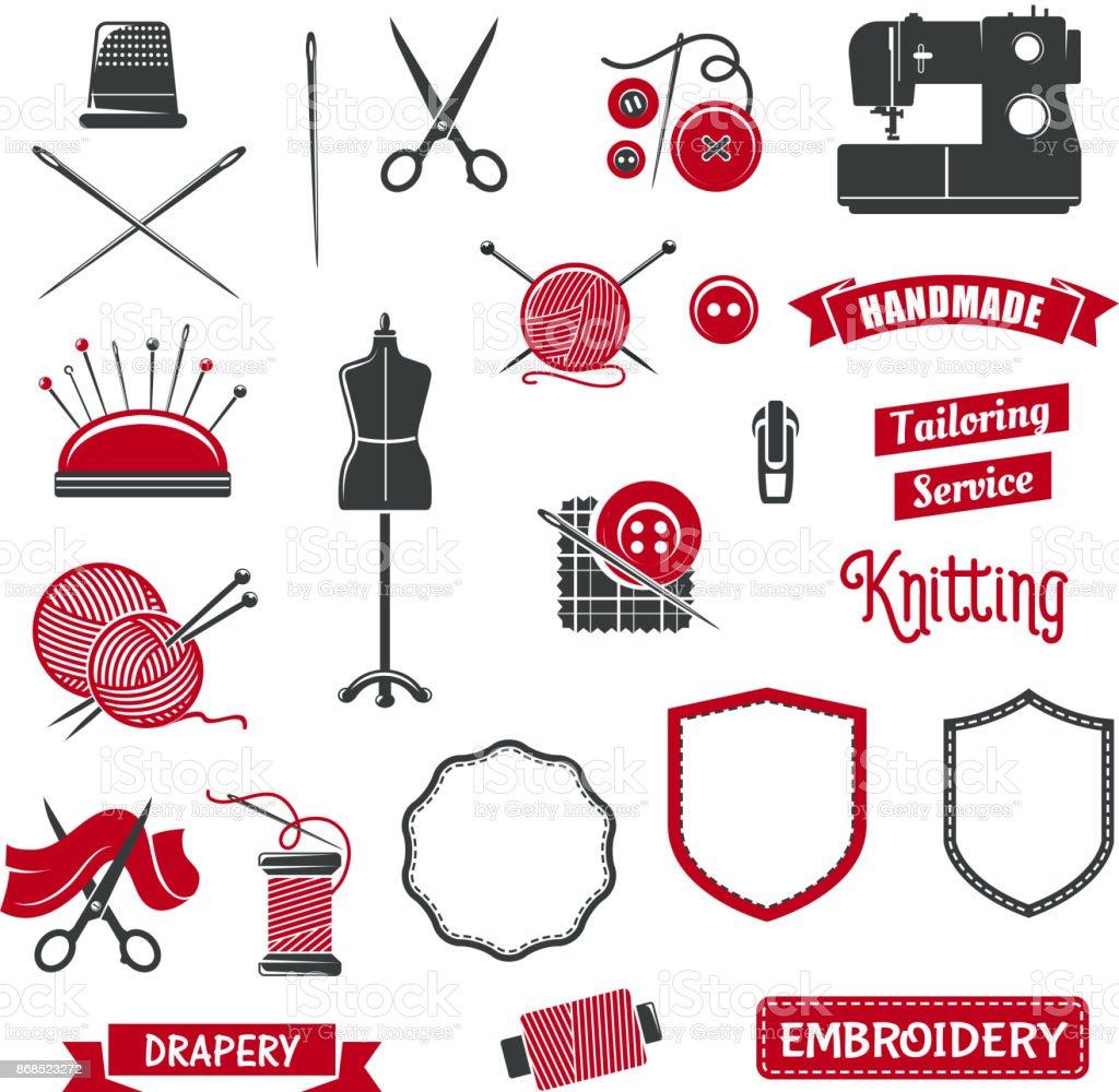 Icônes vectorielles du salon de couturière couture tricot - Illustration vectorielle