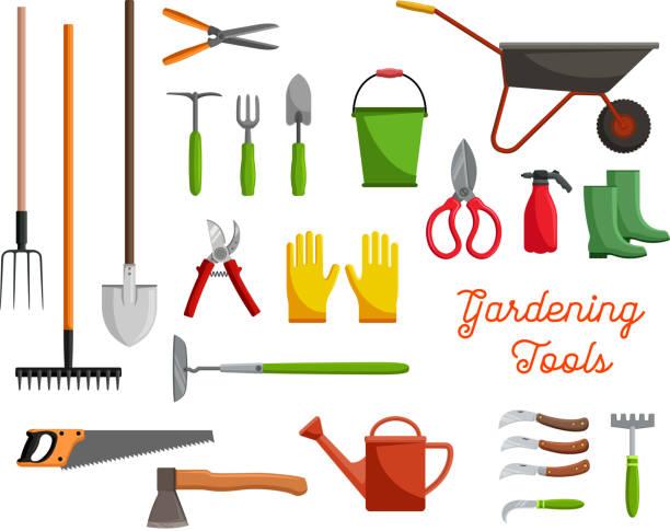 stockillustraties, clipart, cartoons en iconen met vector iconen van boerderij tuingereedschap - kruiwagen met gereedschap