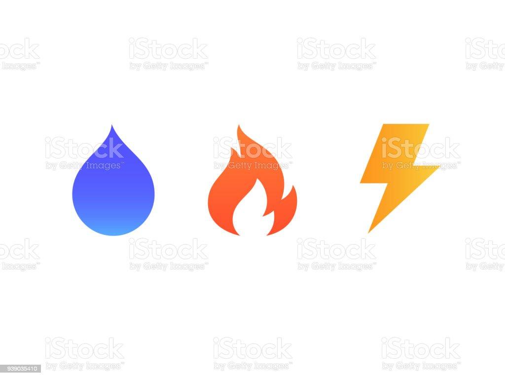 Vektoricons Von Feuer Wasser Und Blitz Stock Vektor Art Und Mehr