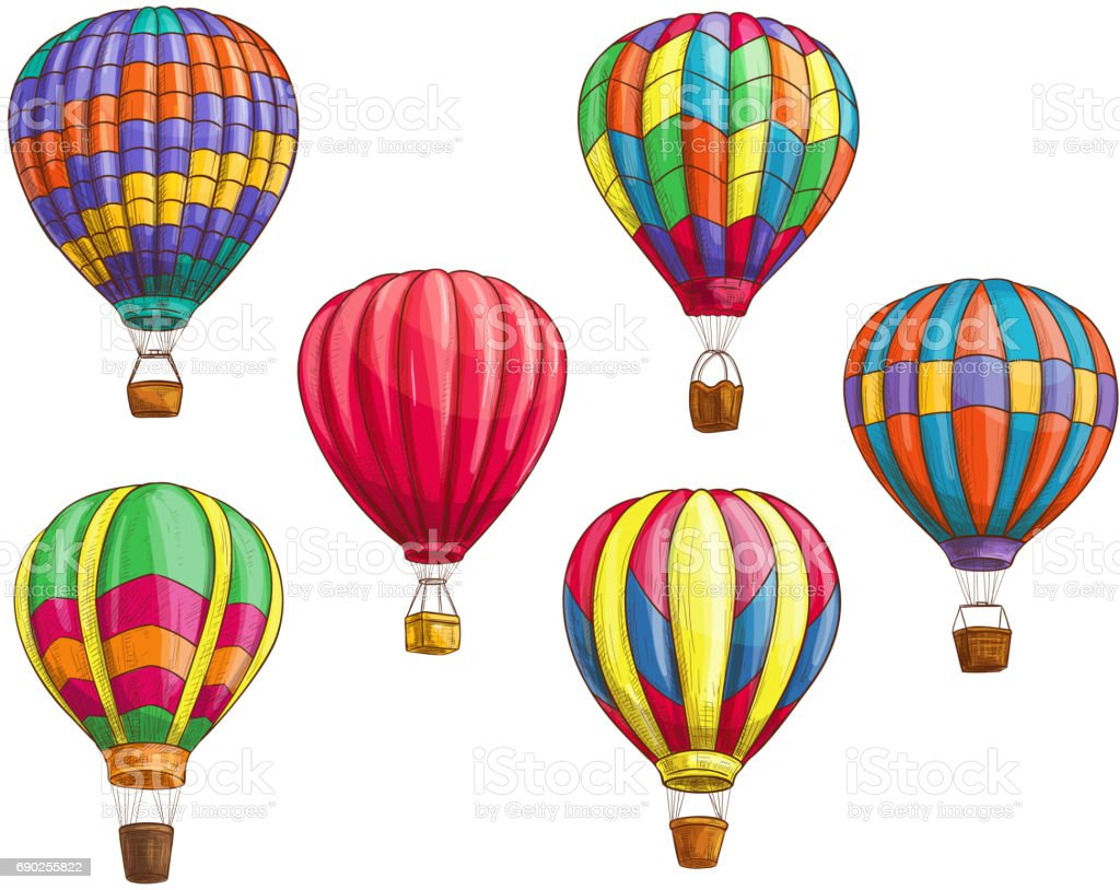 Vector icons of hot air balloons sketch pattern vector art illustration