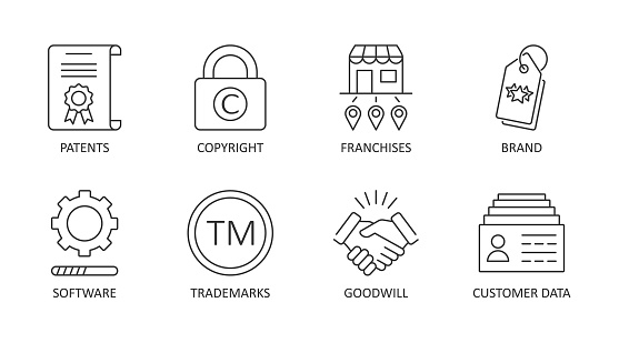 Vector icons of intangible assets. Editable stroke. Business set symbols patents copyright franchises goodwill trademarks brand names self-developed software licenses. Isolated on a white background.