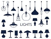 Vector icons of lamps