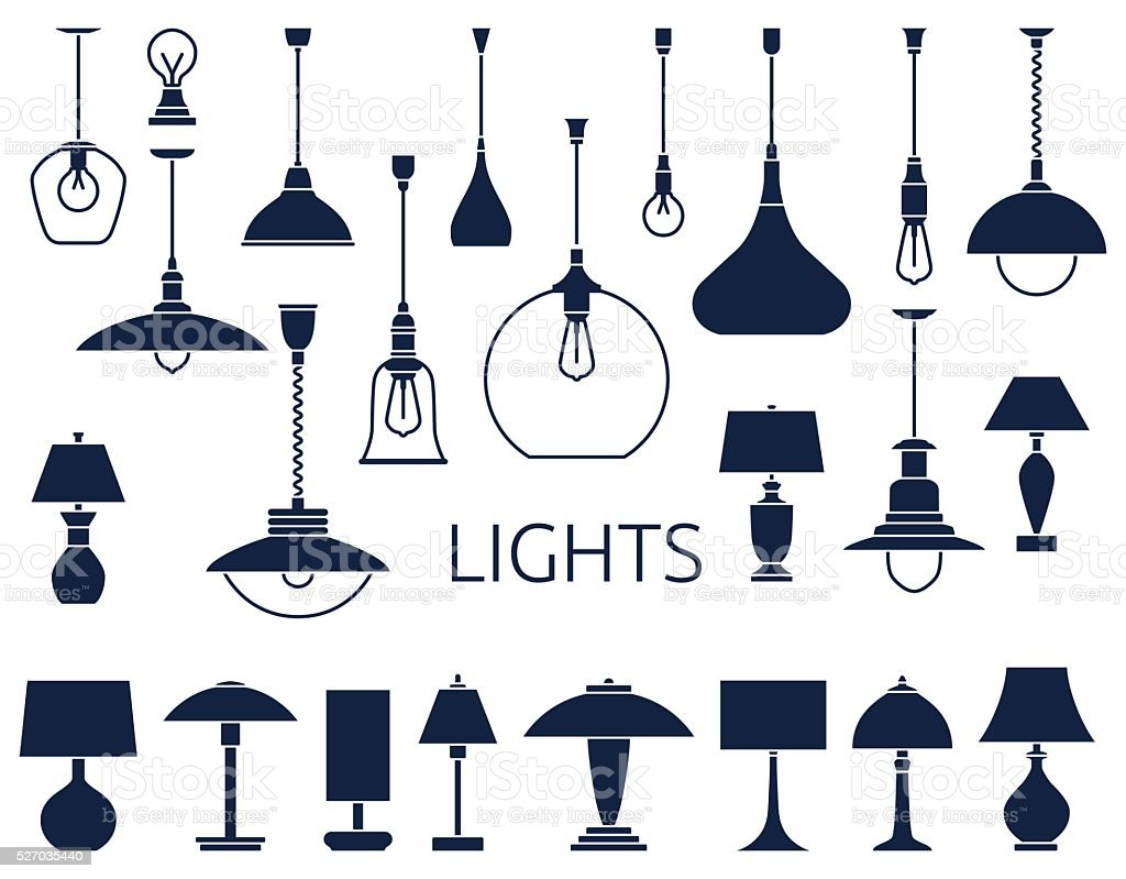Vector icons of lamps vector art illustration