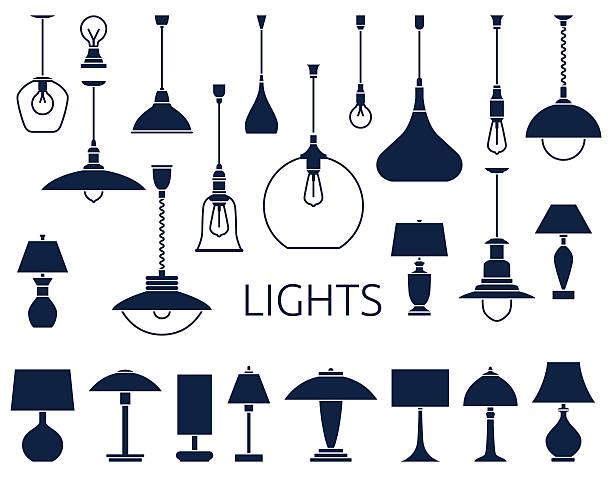 vector icons of lamps - elektrik lambası stock illustrations
