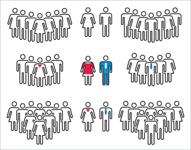 vector icons of man and woman. - old man stick figure silhouette stock illustrations, clip art, cartoons, & icons