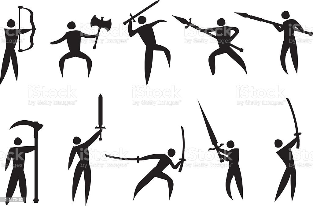 Vector Icons of Martial Arts and Weapons vector art illustration