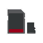 Vector icons of memory card and micro memory card