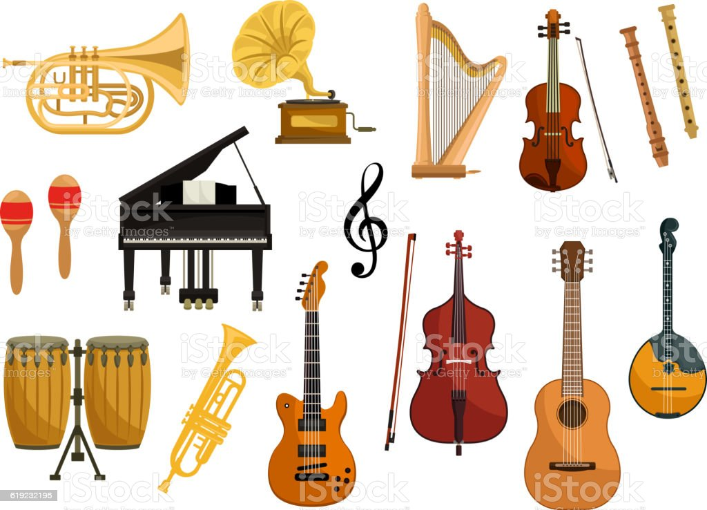 Vector icons of musical instruments vector art illustration
