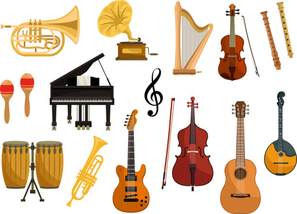 vector icons of musical instruments - talerz perkusyjny stock illustrations