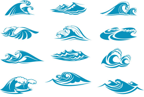 vector icons of ocen water wave blue splash - tidal wave stock illustrations, clip art, cartoons, & icons