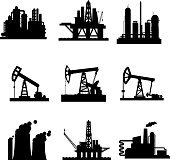 Oil derricks and gas extraction pump mining stations icons set. Vector isolated symbols of oil drilling sea platform, pipeline refinery and industrial fuel plant or factory with smoke of blast furnace