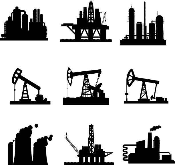 illustrazioni stock, clip art, cartoni animati e icone di tendenza di vector icons of oil derricks and gas mining plants - benzina