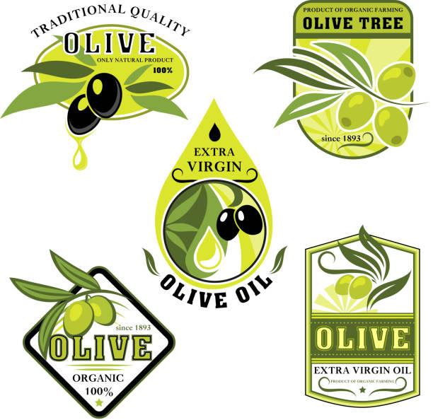 vektor-icons von oliven und italienischen olivenöl - dressing stock-grafiken, -clipart, -cartoons und -symbole