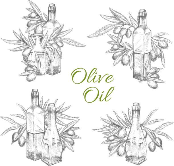 vektor-icons von oliven und olivenöl-flaschen - dressing stock-grafiken, -clipart, -cartoons und -symbole