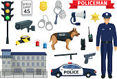 Policeman occupation of police guard work items or accessories. Vector icons of dog, prison jail or police department, gun or rubber bat and handcuff, fingerprints and sheriff badge or car siren