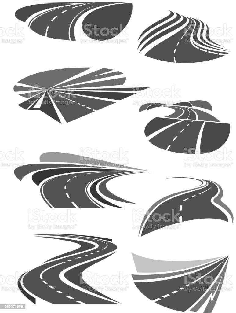 Vector icons of road lanes and highway symbols vector icons of road lanes and highway symbols - arte vetorial de stock e mais imagens de alfalto royalty-free