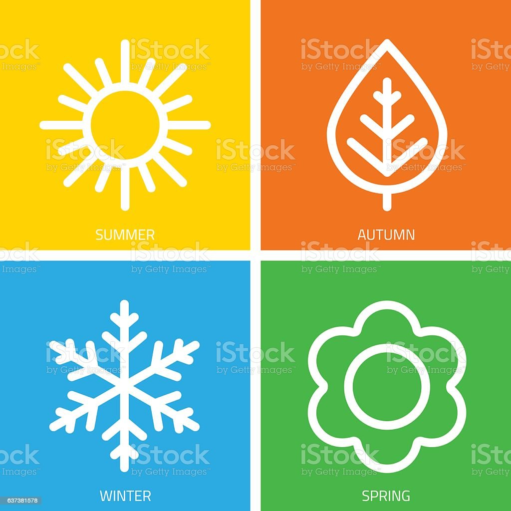 Vector icons of seasons. royalty-free vector icons of seasons stock illustration - download image now
