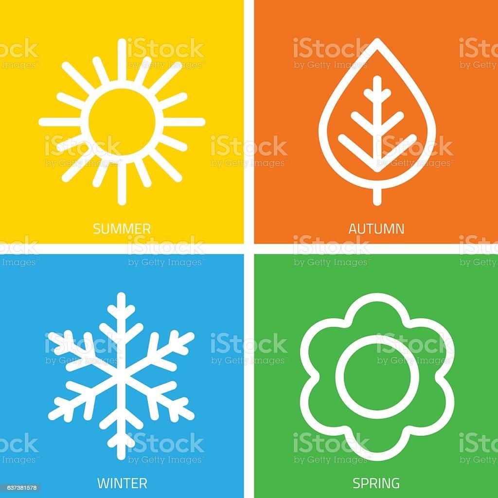 Vector icons of seasons. - ilustración de arte vectorial