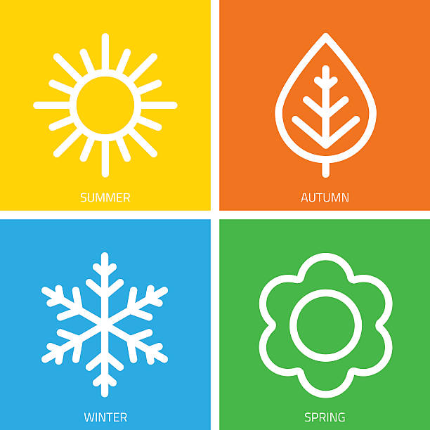 Vector icons of seasons. A set of colorful icons of seasons. The seasons - winter, spring, summer and autumn. Weather forecast sign. Season simple elements concept. four people stock illustrations