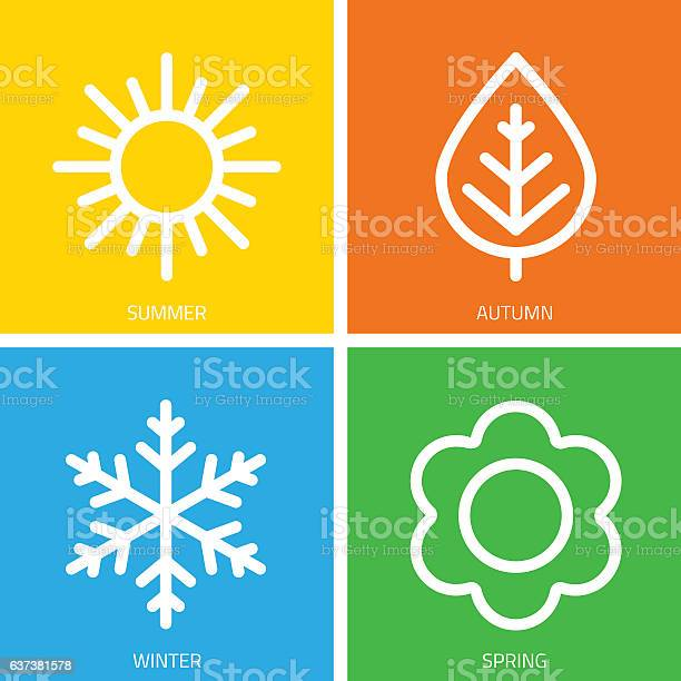 A set of colorful icons of seasons. The seasons - winter, spring, summer and autumn. Weather forecast sign. Season simple elements concept.