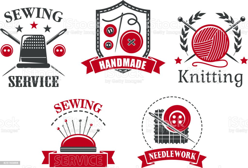 Vector icons of sewing knitting needlework service vector art illustration