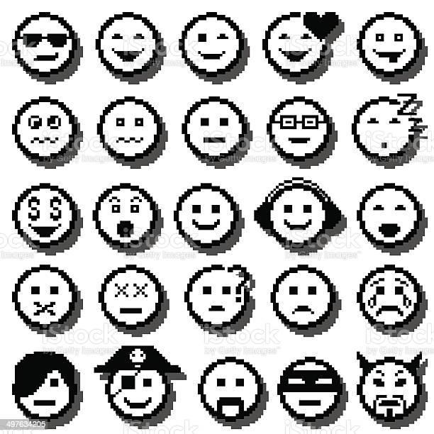 Ensemble De Vecteur Pixel Emoji Telecharger Vectoriel