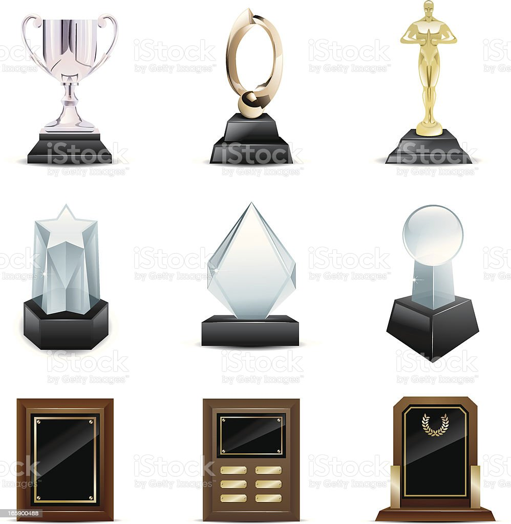 Vector icons of trophies and awards vector art illustration