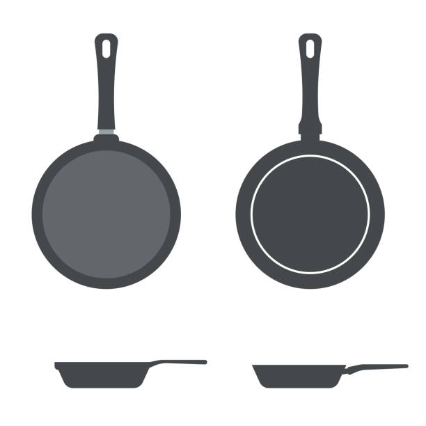 Vector icons pan. Vector icons frying pan. Top view and side view frying pan stock illustrations